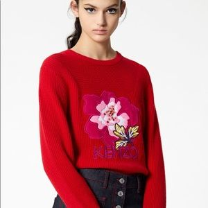 KENZO Red 'Indonesian Flower' jumper XS